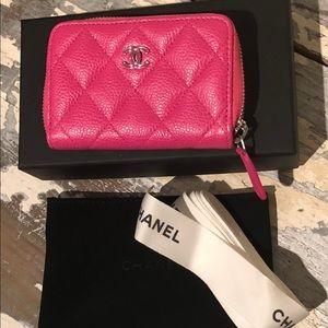 CHANEL Hot Pink Caviar Zip Wallet NIB 💗